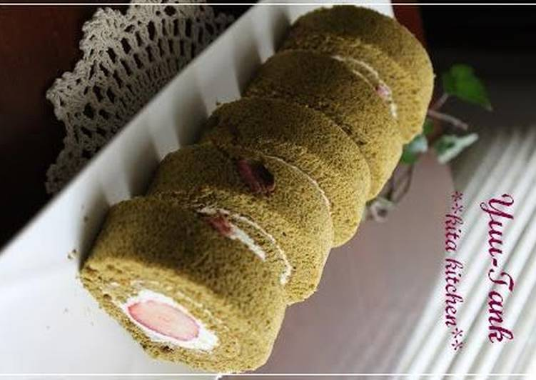 Simple Way to Make Any-night-of-the-week Strawberry and Sakura Matcha Roll Cake for Girls' Day