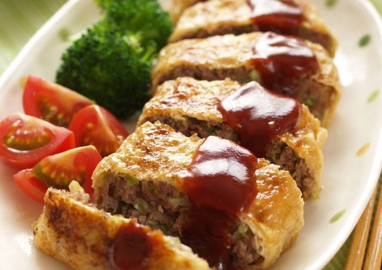 Recipe of Favorite Pan Fried Ground Meat Cutlet Stuffed In Fried Tofu Skin