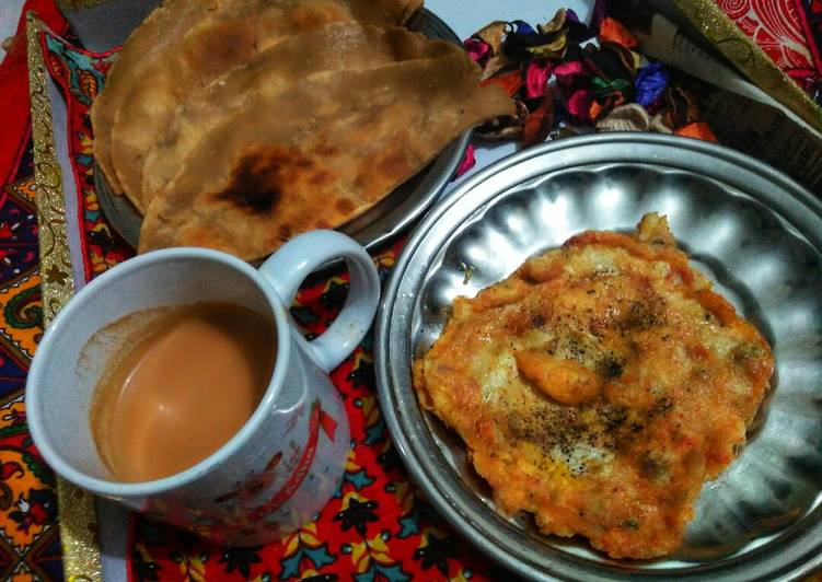 Recipe: Appetizing Scrumble Egg with Teh wala paratha 💖💖