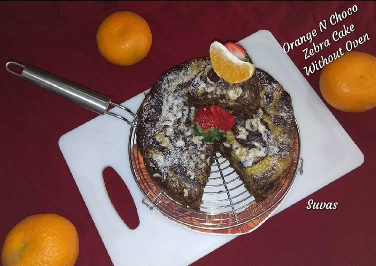 Orange And Choco Zebra Cake Without Oven