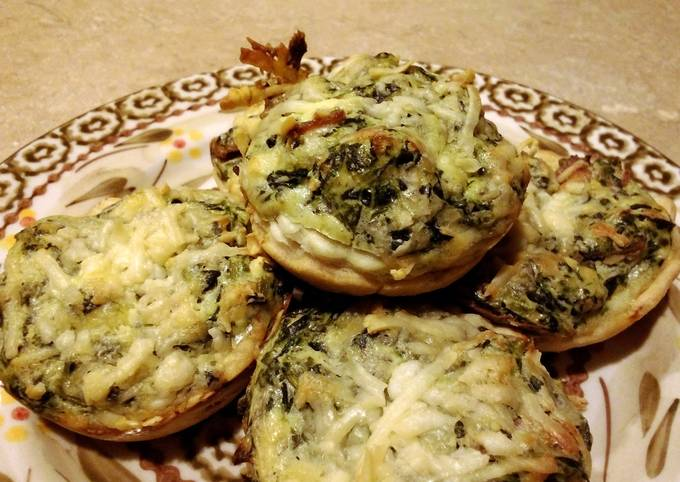 Spinach ,bacon and cheese cup appetizers