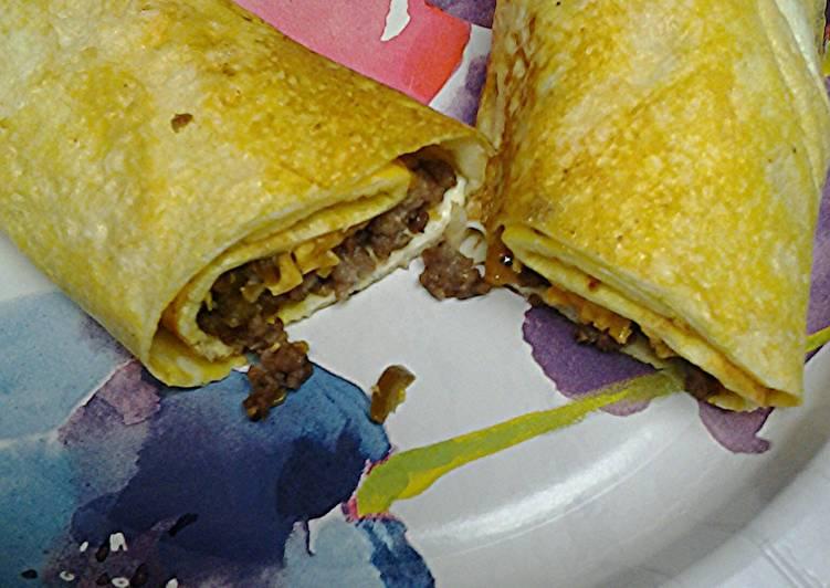 Sausage cheese and jalapeño egg wrap