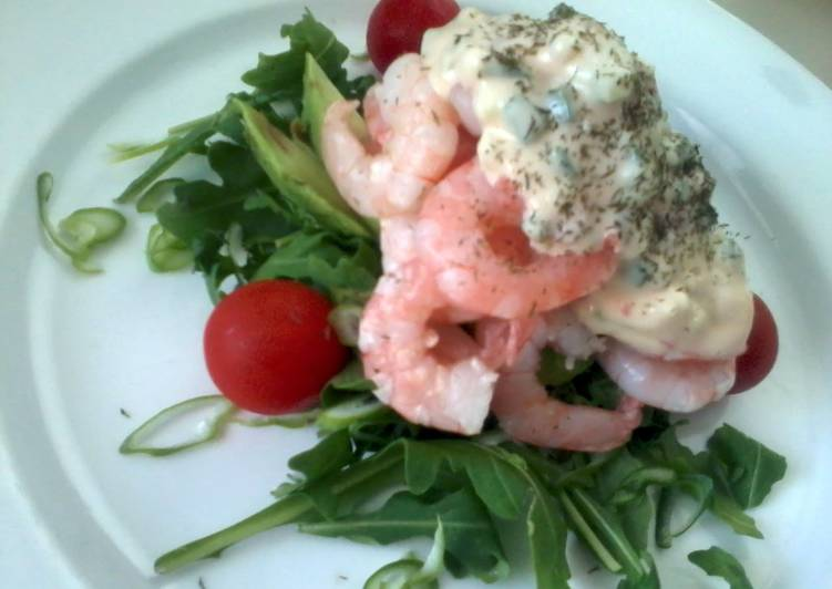 Recipe of Speedy Prawn cocktail with Rocket and Cucumber dressing