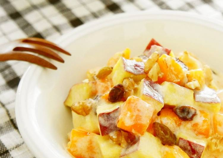 Recipe of Super Quick Homemade Sweet Potato and Persimmon Salad: Great for Autumn