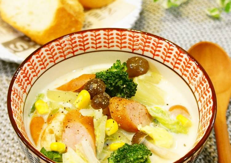 Simple Way to Make Perfect Soy Milk Soup with Lots of Chinese Cabbage