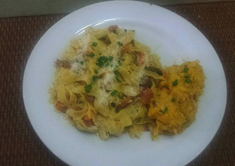Creamy Fettuccine Pasta with Chorizo Sausage and Jerk Chicken