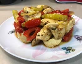 Pollo especiado con verduras