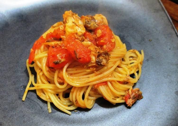 How to Prepare Speedy Super Quick Canned Boiled Mackerel & Tomato Spaghetti