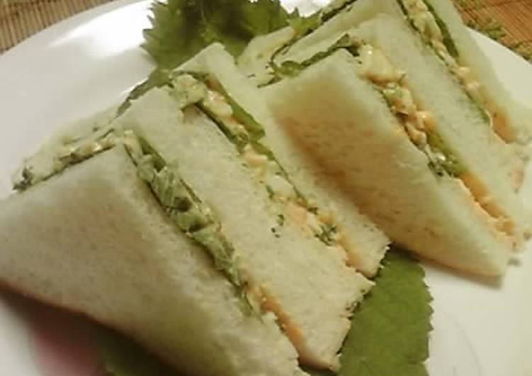 Steps to Prepare Ultimate Easy! Refreshing Japanese-Style Sandwich: Shiso and Egg