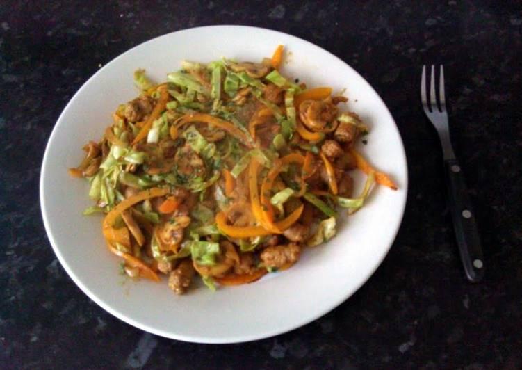 Stir Fried Cabbage and Pork Sausage