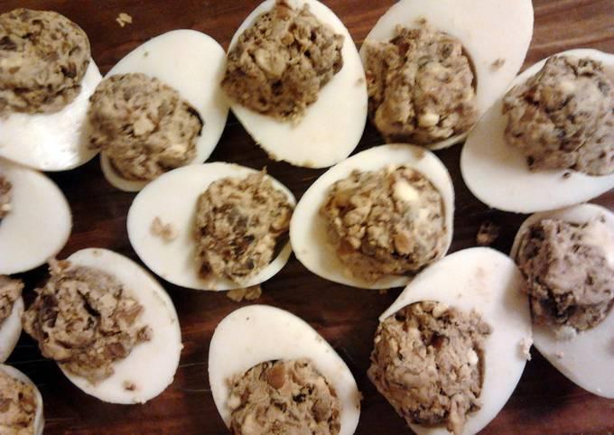 Mushroom stuffed eggs