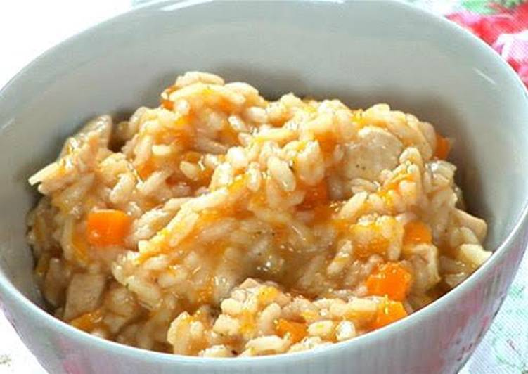 Healthy Risotto With Carrots, Tomatoes, Chicken
