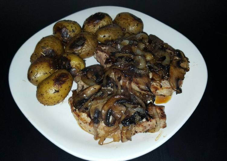 Cast Iron Pork Chops with Onions & Mushrooms - Laurie G Edwards