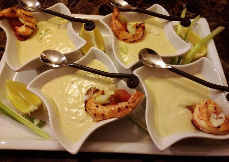 Starter Avocado Soup with Spicy Grilled Shrimp