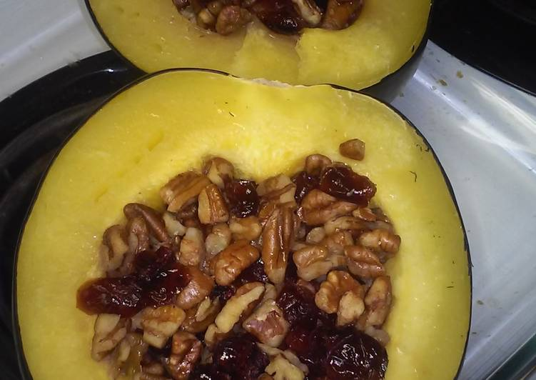 Easiest Way to Make Yummy Easy, Baked Cranberry-Pecan Acorn Squash