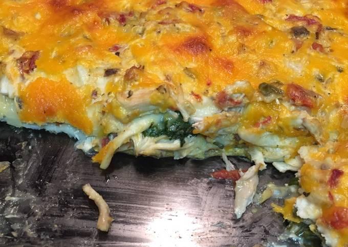 Chicken and spinach enchilada dinner casserole