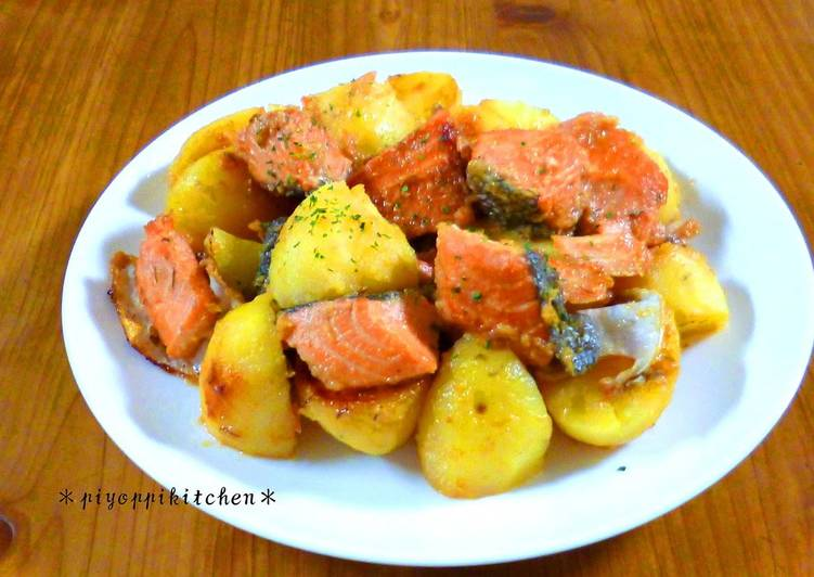 Simmered Salmon and Potatoes in Miso and Butter