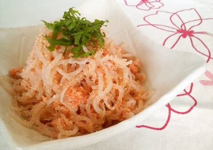 Low-Cal Drinking Appetizer: Mentaiko and Shirataki Noodles