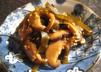 How to Recipe Delicious Tsukudani from Leftover Shiitake Mushroom and Kombu after Making Dashi Stock Macrobiotic