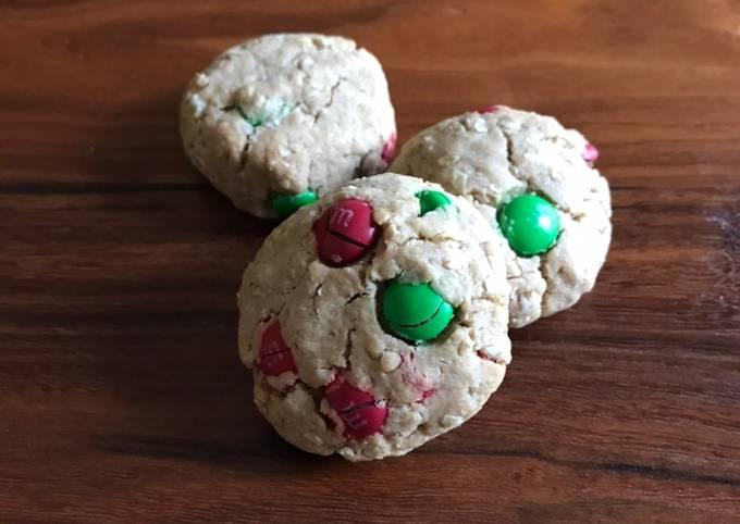 Whole Wheat M&M Oatmeal Cookies