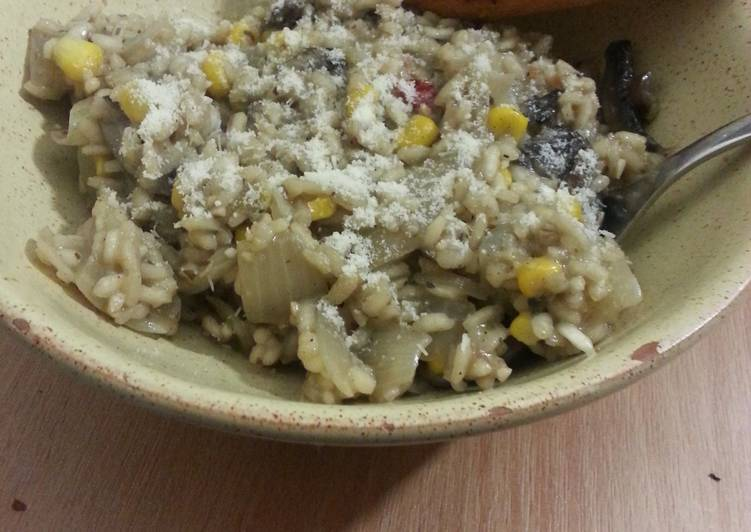 Mushroom and sweetcorn risotto