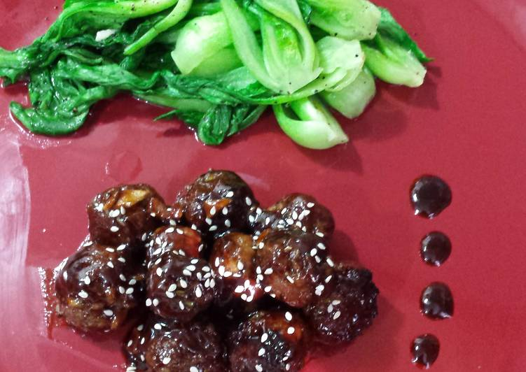 Asian Meatballs & Fresh Bok choy