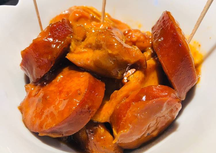 Recipe: Delicious Crockpot Chicken 🐔 Kielbasa Bites