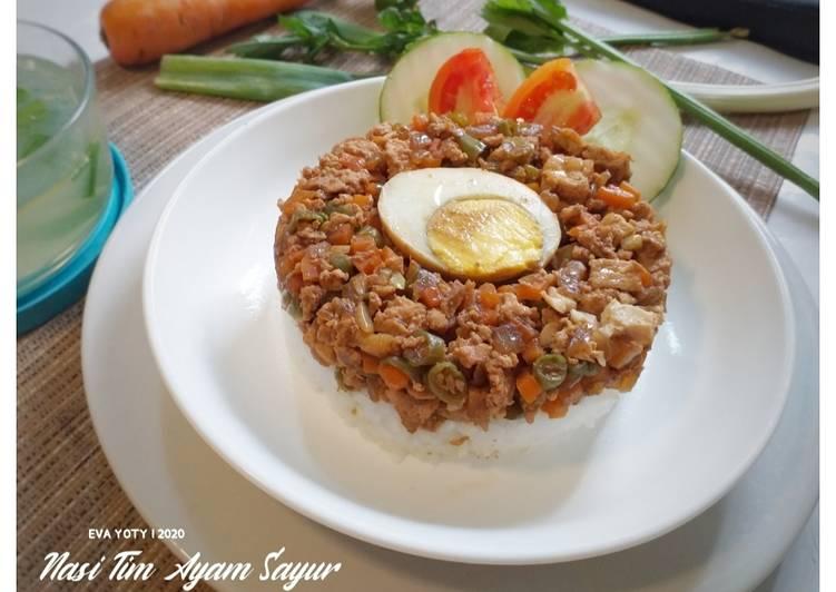Nasi Tim Ayam Sayur (plus tahu)