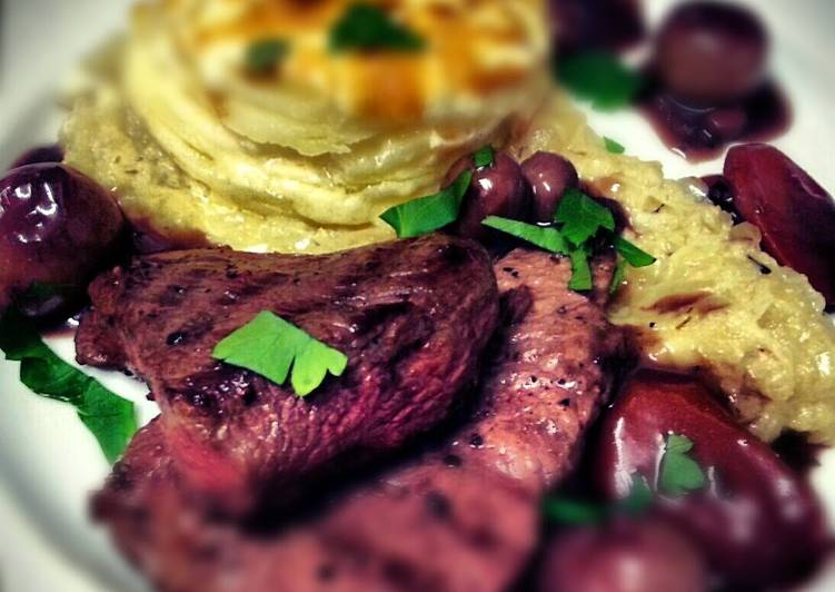 Rump Steak with wholegrain mustard dauphinoise, onion thyme puree and bourguignon sauce