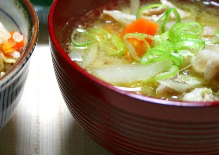 Recipe of Ultimate Simmered Tonjiru (Pork Soup)