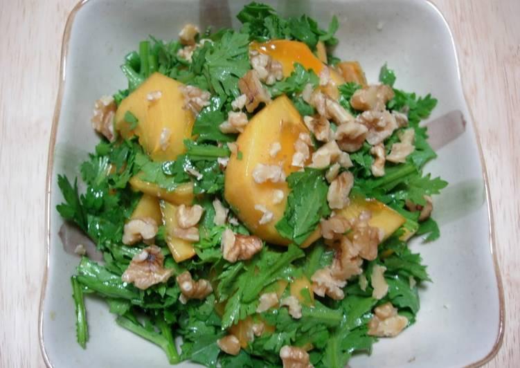 Simple Way to Prepare Most Popular Persimmon and Chrysanthemum Leaf Salad