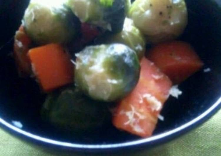 Brussels Sprout and Carrots Simmered in Olive Oil