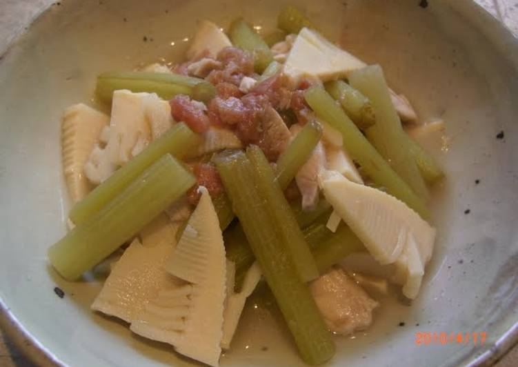Simmered Bamboo Shoot & Fuki Topped with Umeboshi