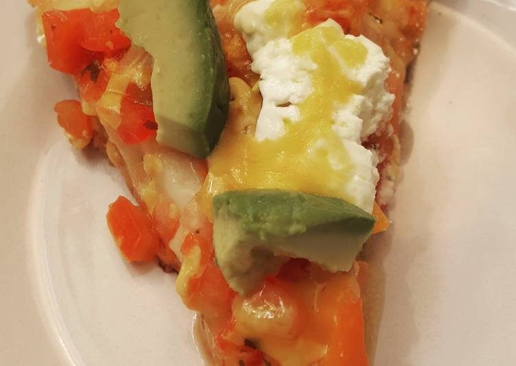 Salsa, Cheddar, Sour Cream & Avocado Pizza