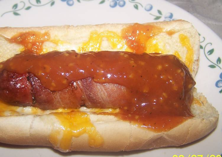 Nuwave Cheesy Bacon Wrapped Bbq Hotdog
