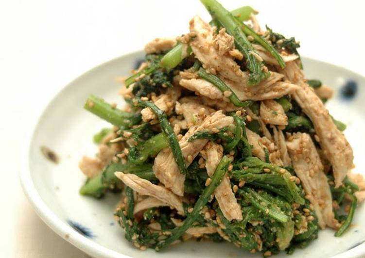 30 Minute Recipe of Any Night Of The Week Chrysanthemum Greens & Chicken with Sesame Sauce