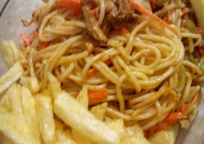 Chowmien with French fries