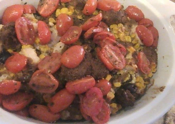 Recipe: Perfect Tomato Topped Corn and Feta Casserole