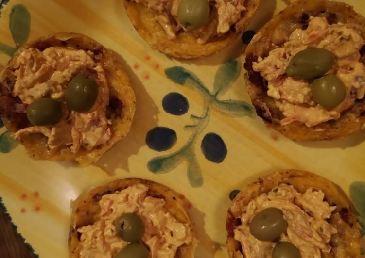 Petits paniers.. gouda mimolette lardon de volaille