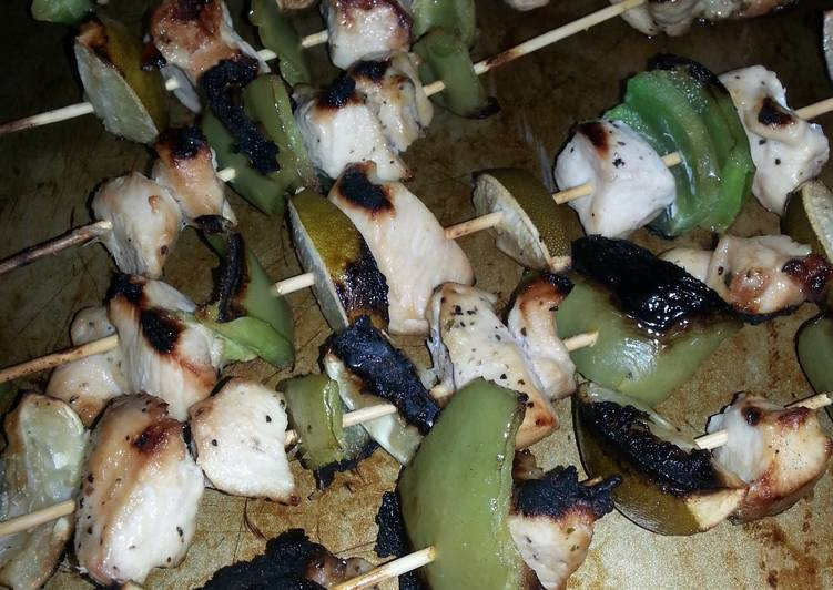 Grilled cilantro lime chicken kabobs
