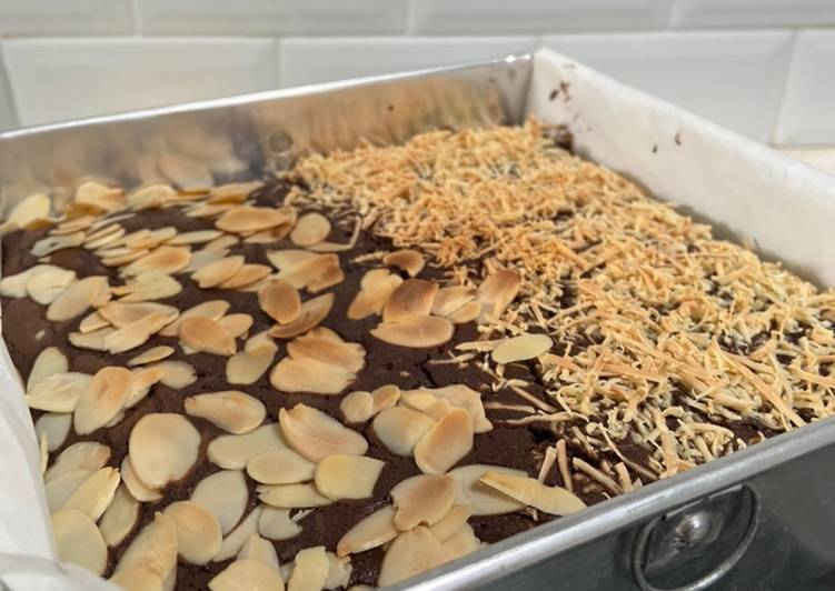 Resep Brownies panggang keju almond Anti Gagal