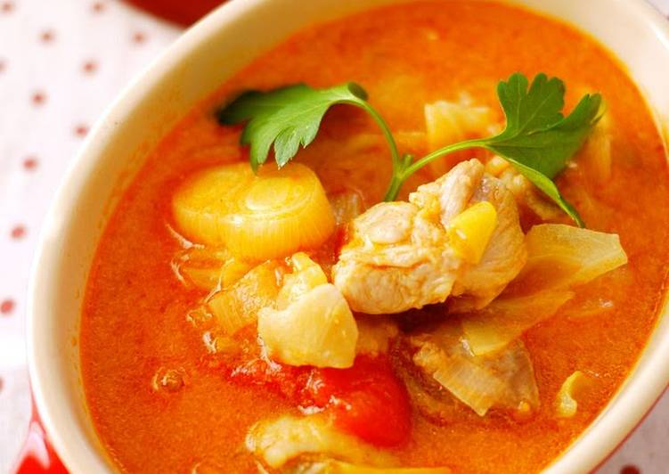 Steps to Prepare Homemade Perfect with Rice! Chicken and Tomato Milk Soup