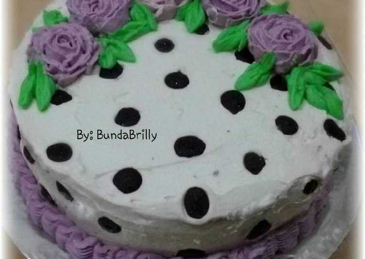 Cake Ultah Polkadot Coklat