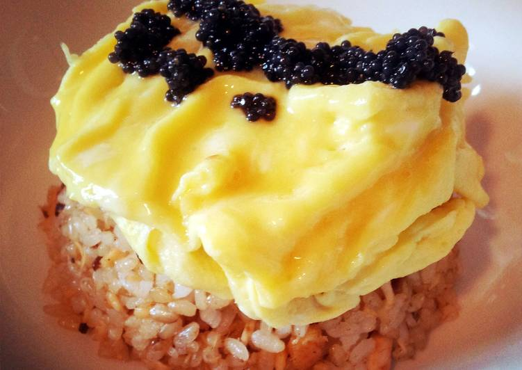 Foods That Make Your Mood Better Salmon fried rice with cavair omelette
