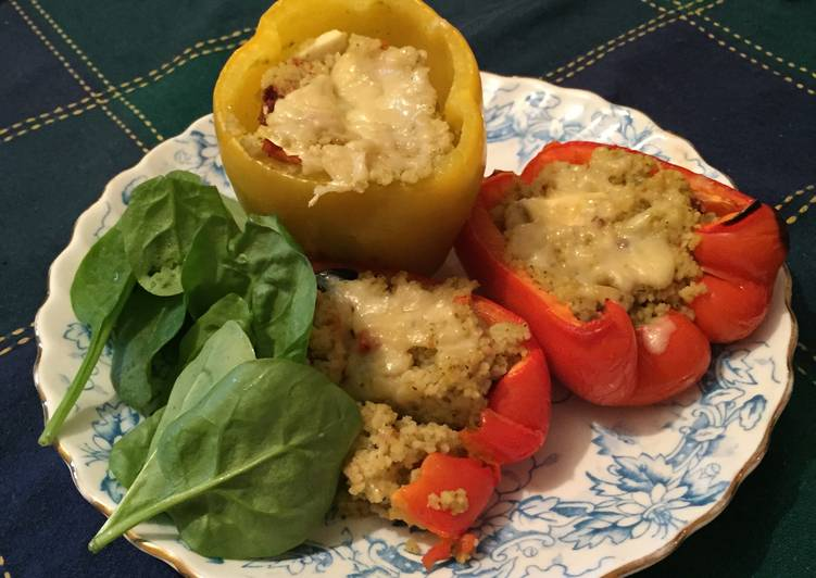 Greek Style Couscous Stuffed Peppers