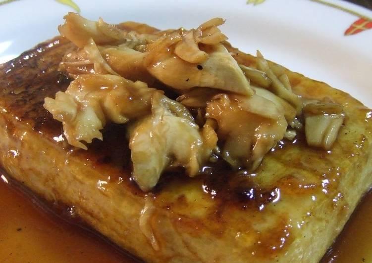 Recipe of Perfect Tofu Steak with Sublime Maitake Mushroom Sauce