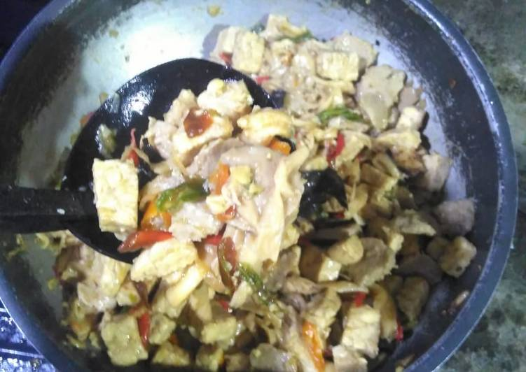 Tumis/oseng jamur,tempe&bakso
