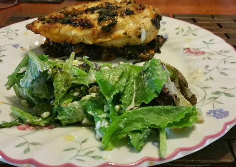 How to Make Homemade Chicken breast with baby romaine over bed of spinach