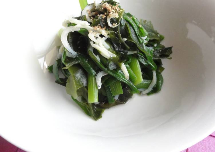 Turn to Food to Elevate Your Mood Refreshing Garlic Chives and Wakame Simmered with Jako