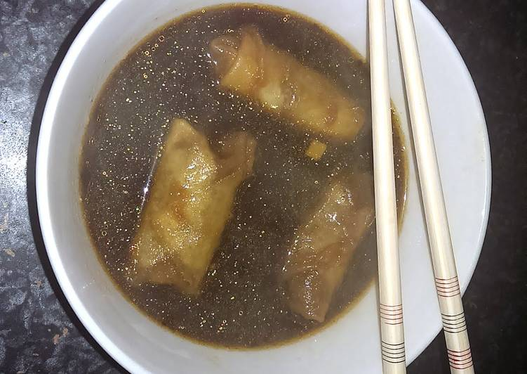 Sophie's lime chili beef spring roll dumpling soup